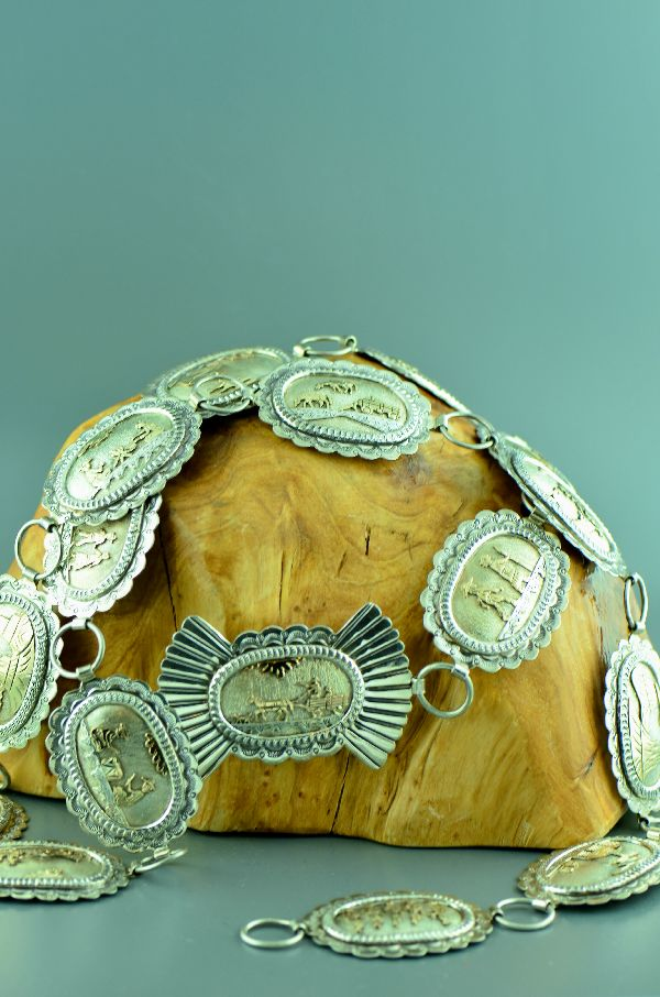 "Navajo – Magnificent 12ktGF and Sterling Silver ""Navajo Story of Life"" Concho Belt by Sampson Gray (Private Collection)"