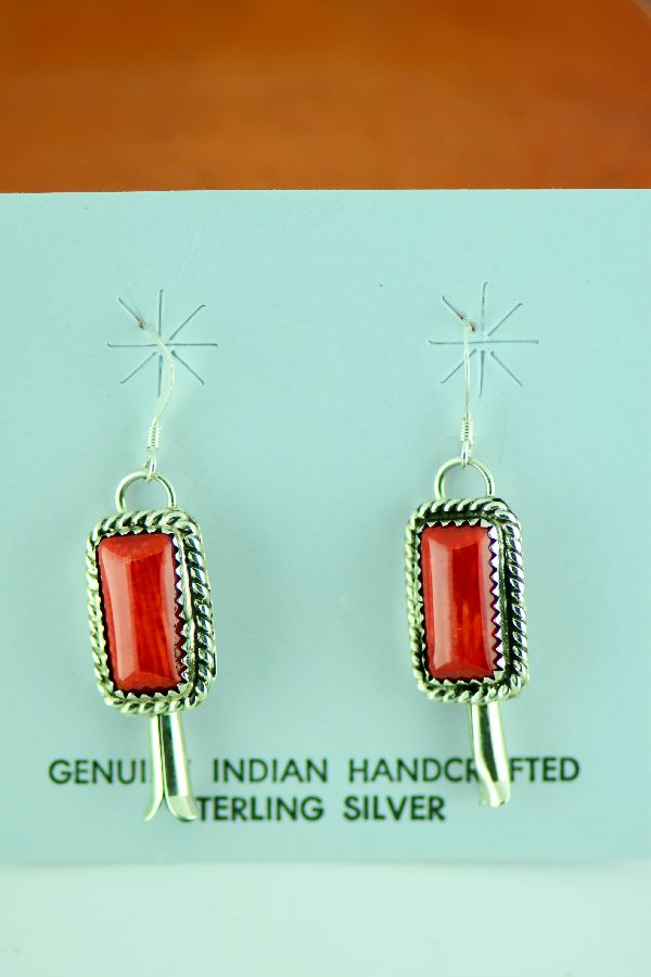 Navajo – Mid-Size Sterling Silver Apple Coral Squash Blossom Necklace and Earrings by Garrison Boyd