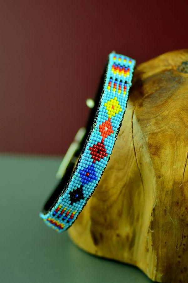 "Navajo 14"" Multi-Colored Medicine Eye and Prayer Feather Beaded Nylon Dog Collar by Caroline Joe"