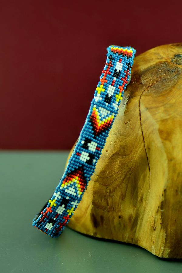 "Navajo 14"" Multi-Colored Prayer Feather and Arrow Beaded Nylon Dog Collar by Caroline Joe"