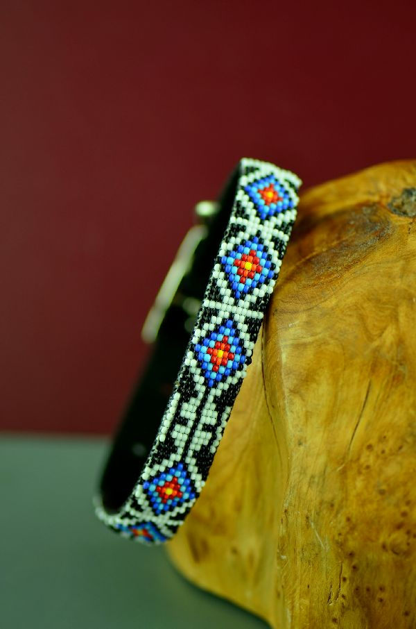 "Navajo 12"" Multi-Colored Traditional Medicine Eye Beaded Nylon Dog Collar by Caroline Joe"
