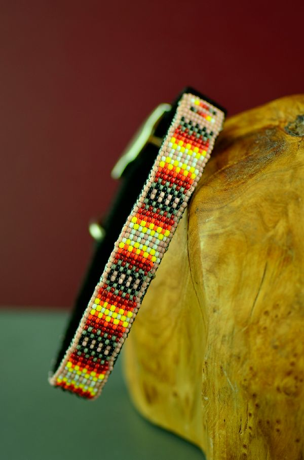 "Navajo 12"" Multi-Colored Traditional Beaded Nylon Dog Collar by Caroline Joe"
