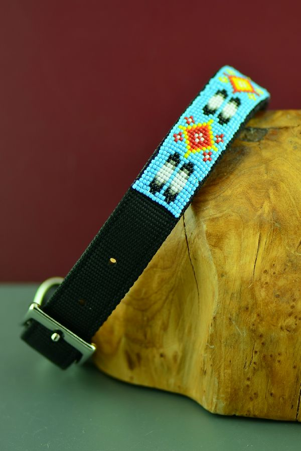 "Navajo 18"" Multi-Colored Beaded Prayer Feather and Medicine Eye Nylon Dog Collar by Amber Toledo"