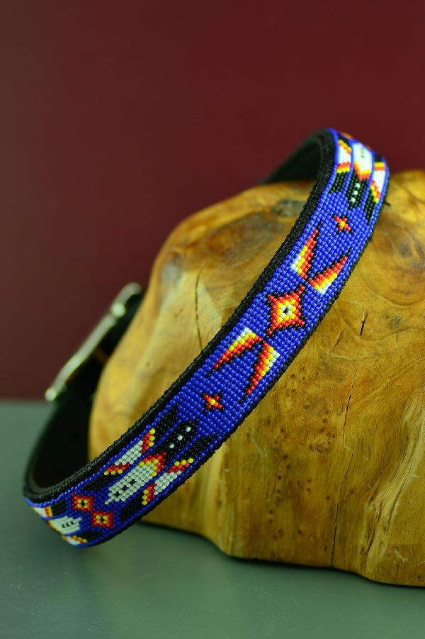 Navajo 20� Multi-Colored Beaded Prayer Feather and Medicine Eye Nylon Dog Collar by Amber Toledo