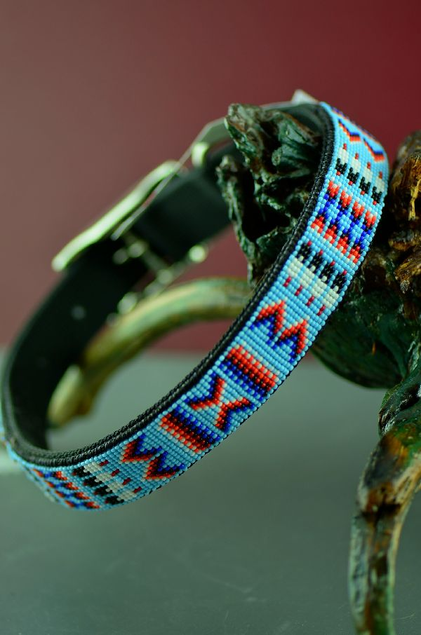 Navajo 20 Inch Multi-Colored Beaded Prayer Feather and Medicine Eye Nylon Dog Collar by Amber Toledo