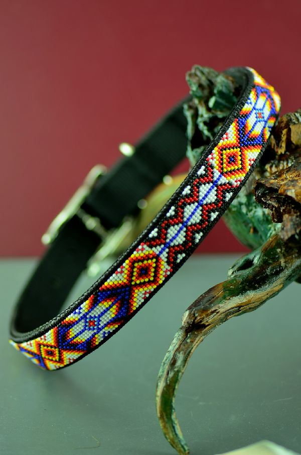 Navajo 24 Inch Multi-Colored Beaded Prayer Feather, Medicine Eye and Rug Pattern Nylon Dog Collar by Amber Toledo