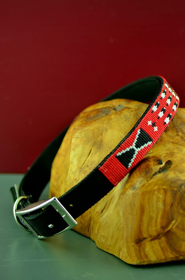 Navajo 24 Inch Beaded Prayer Feather and Traditional Design Nylon Dog Collar by Caroline Joe