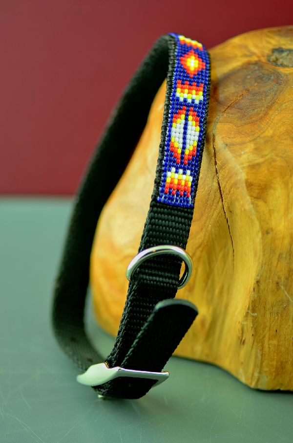 "Native Amerian 14"" Multi-Colored Beaded Nylon Dog Collar by Amber Toledo"