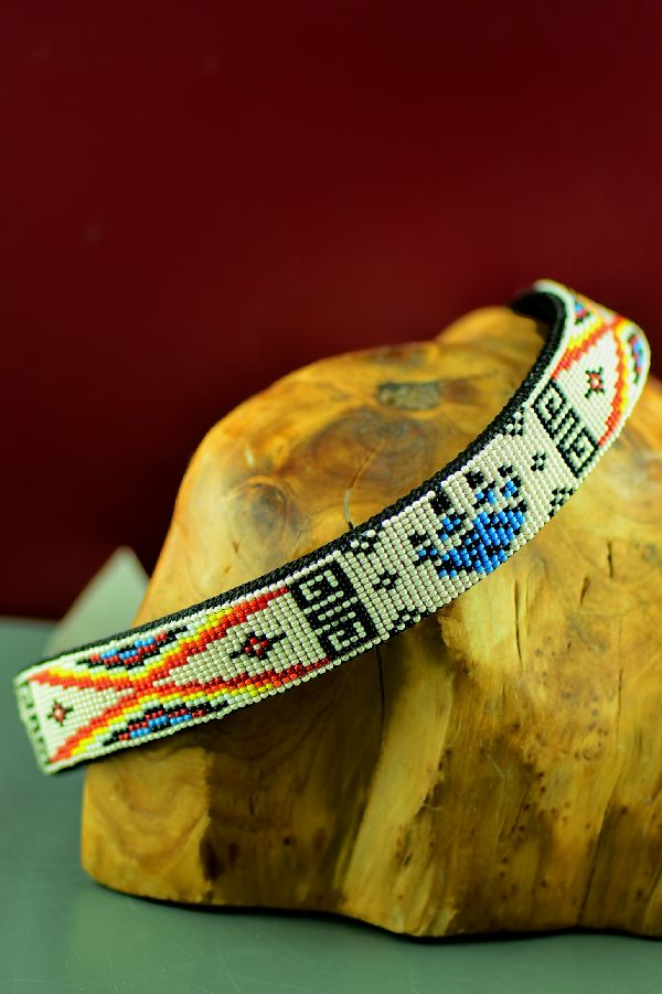 "Navajo Traditional Beaded Dog Collar by Amber Toledo 22"" Long"