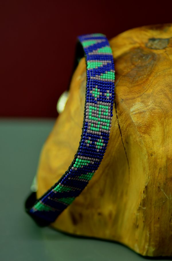 "Navajo 14"" Multi-Colored Beaded Nylon Dog Collar by Caroline Joe"