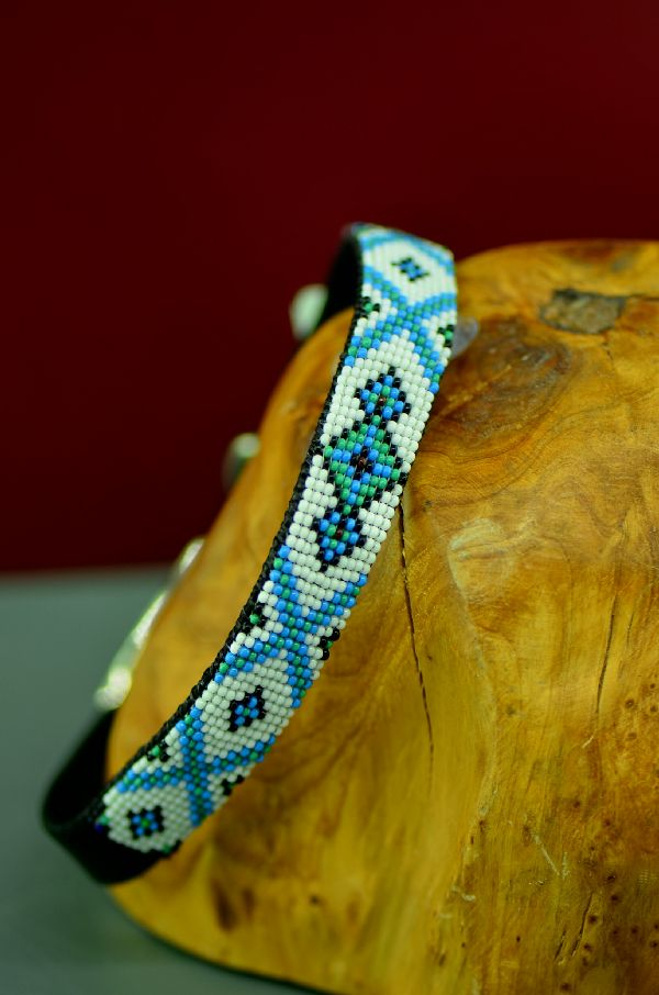Native American 14 Inch Multi-Colored Beaded Nylon Dog Collar by Caroline Joe