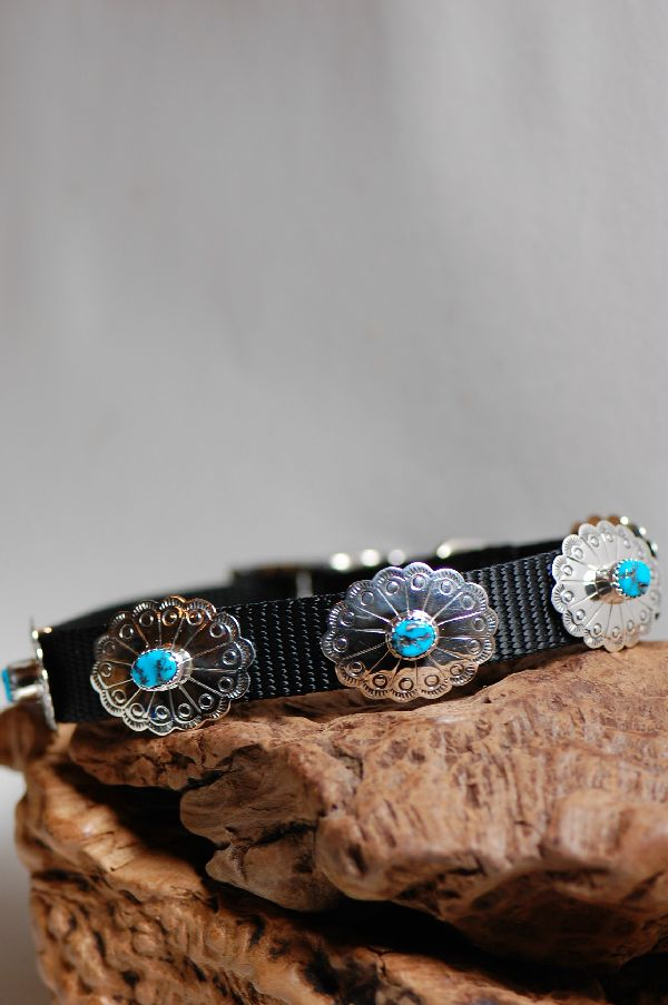Navajo – 16 inch Sterling Silver and Sleeping Beauty Turquoise Dog Collar