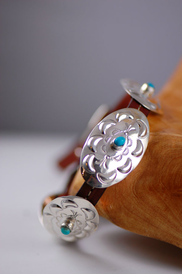 Navajo – 12 inch Hand Stamped Sterling Silver and Sleeping Beauty Turquoise Dog Collar by Jimmie Lee