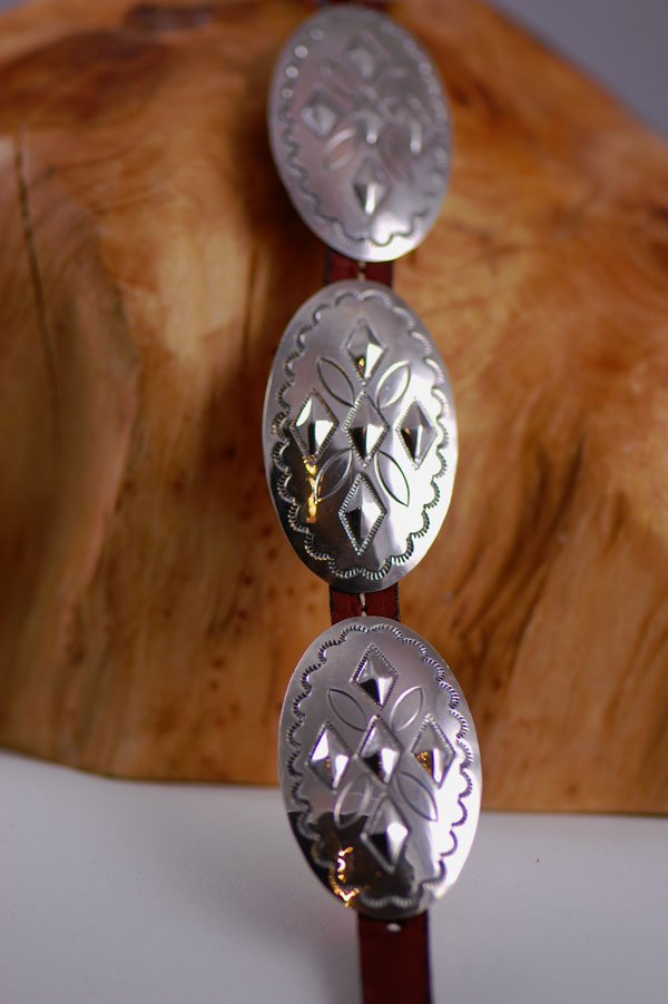 Navajo – 12 inch Hand Stamped Sterling Silver Dog Collar by Jimmie Lee