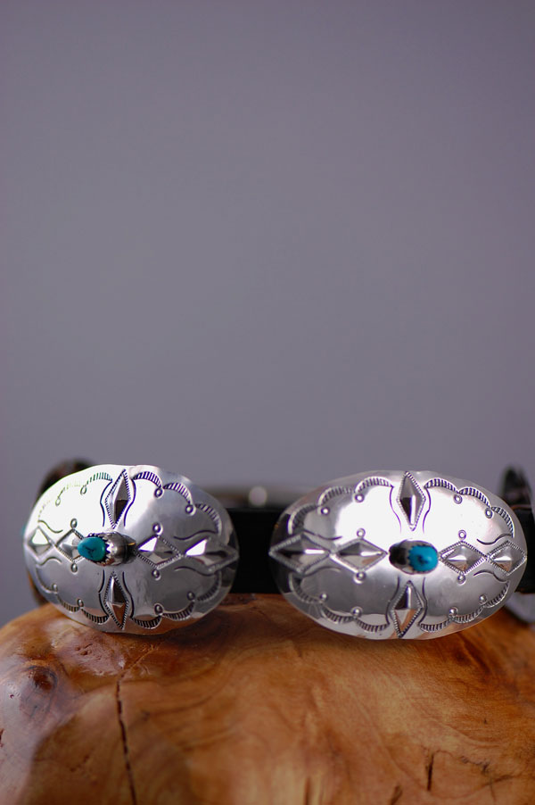 Navajo – 14 inch Hand Stamped Sterling Silver and Sleeping Beauty Turquoise Dog Collar by Jimmie Lee