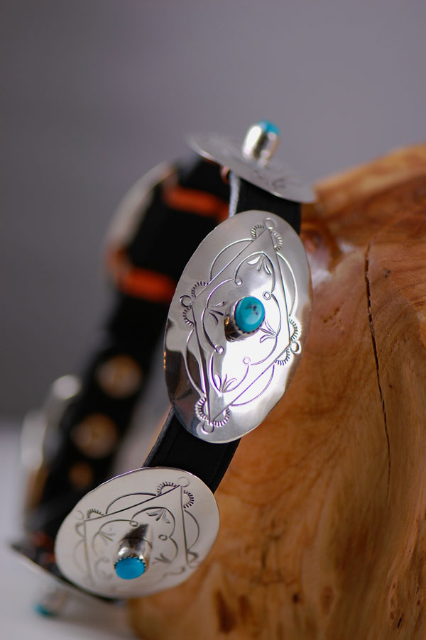 Navajo � 16 inch Hand Stamped Sterling Silver and Sleeping Beauty Turquoise Dog Collar by Jimmie Lee