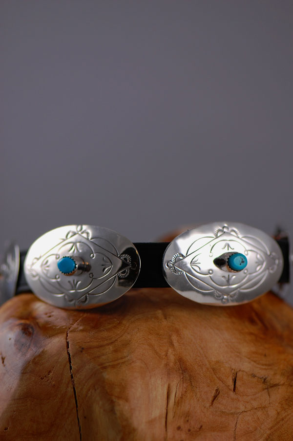 Navajo – 16 inch Hand Stamped Sterling Silver and Sleeping Beauty Turquoise Dog Collar by Jimmie Lee
