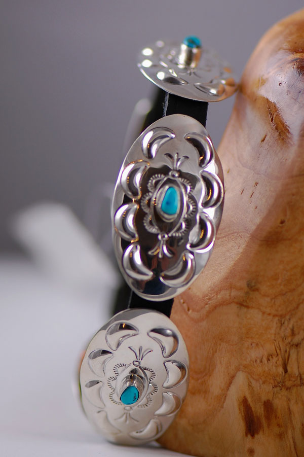 Navajo � 12 inch Hand Stamped Sterling Silver and Sleeping Beauty Turquoise Dog Collar by Jimmie Lee