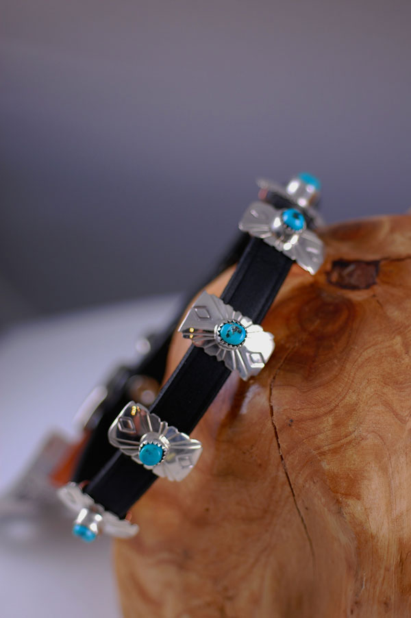 Navajo � 14 inch Hand Stamped Sterling Silver and Blue Gem Turquoise Dog Collar by Roy Begay