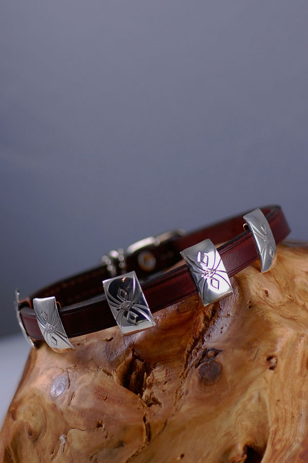 Navajo � 14 inch Hand Stamped Sterling Silver Dog Collar by Roy Begay