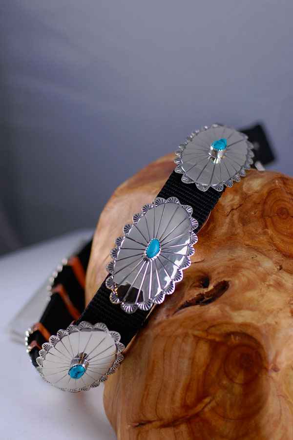 Navajo � 22 inch Sterling Silver and Blue Gem Turquoise Dog Collar by Roy Begay