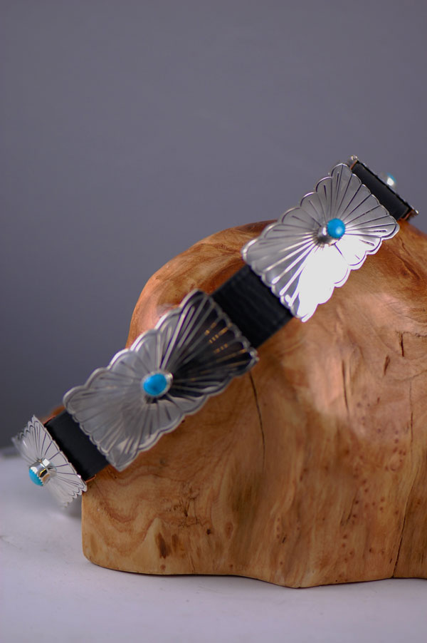 Navajo – 22 inch Sterling Silver and Blue Gem Turquoise Dog Collar by Roy Begay