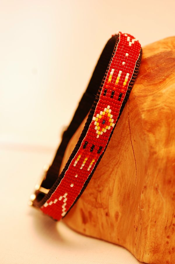 "Navajo – 14"" Traditional Multi-Colored Beaded Nylon Dog Collar by Mary Saunders"