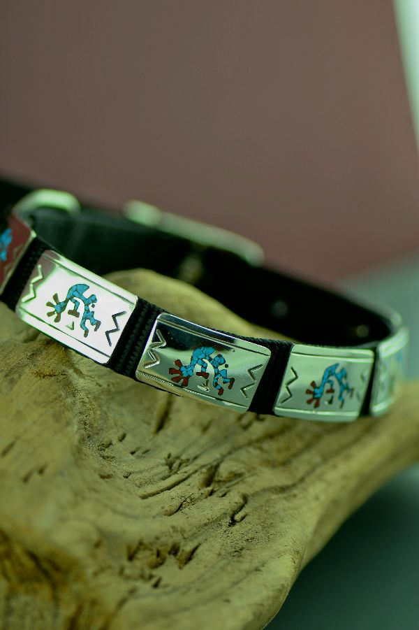 "Navajo 14"" Sterling Silver Turquoise and Coral Chip Inlay Kokopelli Dog Collar by Kee Begay"