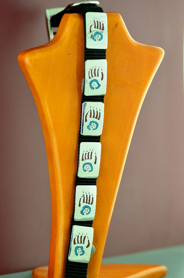 Navajo 14� Sterling Silver Turquoise and Coral Chip Inlay Bear Paw Dog Collar by Kee Begay