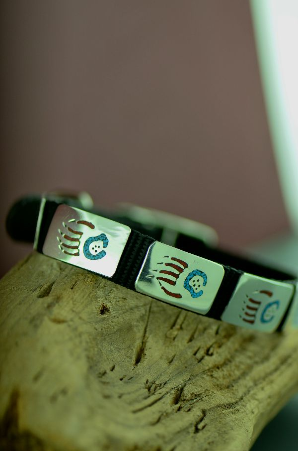 "Navajo 14"" Sterling Silver Turquoise and Coral Chip Inlay Bear Paw Dog Collar by Kee Begay"