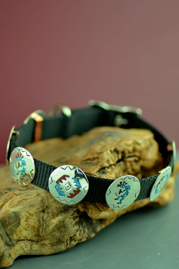 Native American 14� Sterling Silver Turquoise and Coral Chip Inlay Kokopelli and Rug Design Dog Collar by Kee Begay