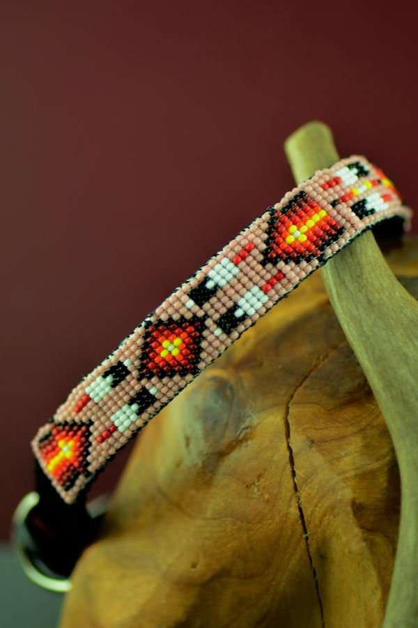 Navajo 14 Inch Multi-Colored Beaded Prayer Feather Nylon Dog Collar by Caroline Joe