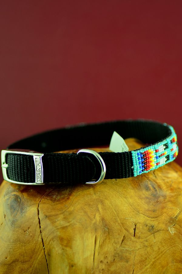 "Navajo Traditional 14"" Multi-Colored Beaded Nylon Dog Collar by Caroline Joe"