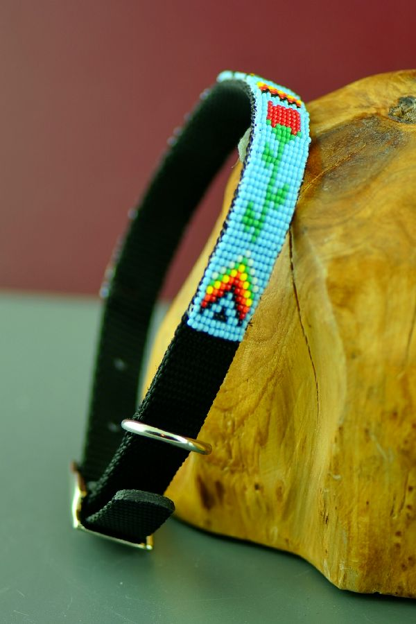 Navajo 14 Inch Multi-Colored Traditional Beaded Nylon Dog Collar by Caroline Joe