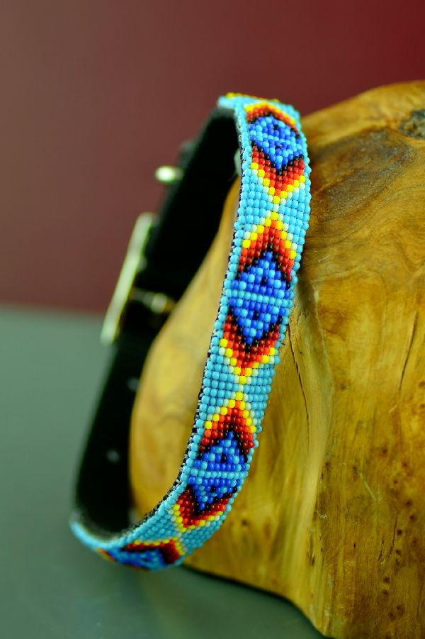 "Navajo 14"" Multi-Colored Medicine Eye Beaded Nylon Dog Collar by Caroline Joe"