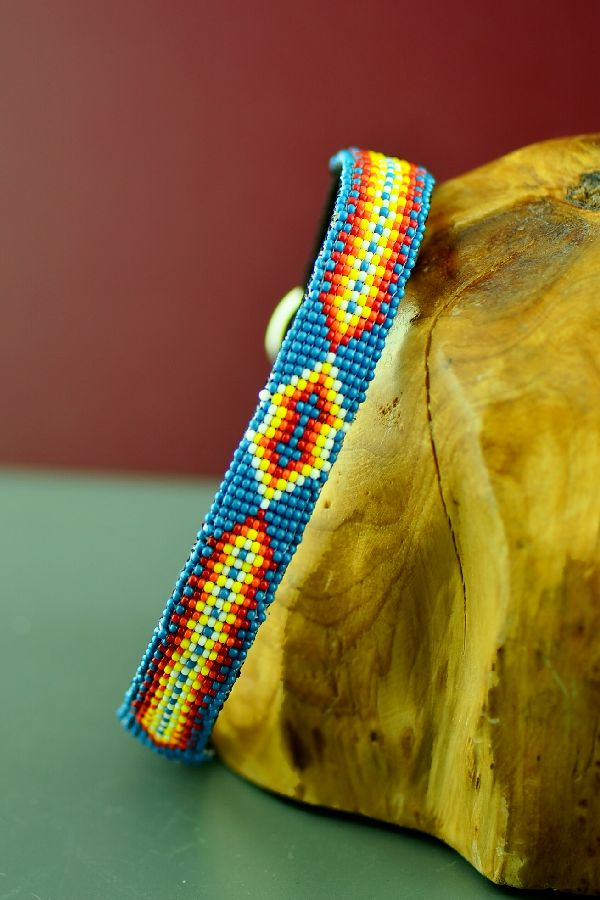 "Navajo 14"" Multi-Colored Arrow Beaded Nylon Dog Collar by Caroline Joe"
