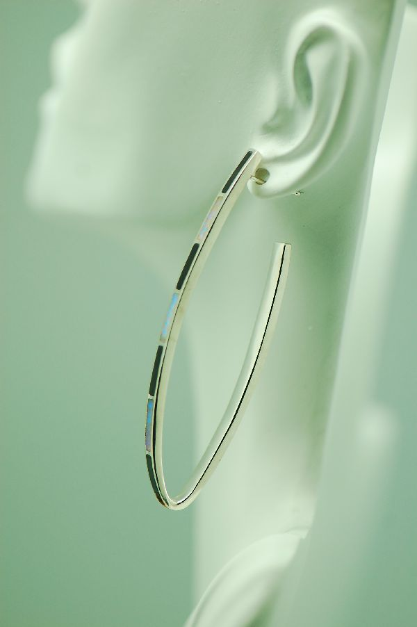 Navajo – Sterling Silver Lab Opal and Jet Inlaid Contemporary Hoop Earrings by Lucy Cayatineto