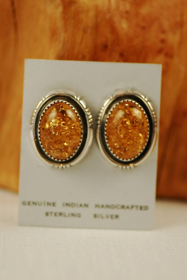 Navajo – Sterling Silver Amber Earrings by Bobby Piaso Jr.