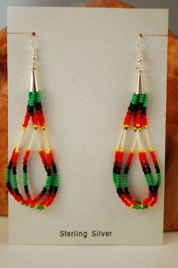 Navajo – Sterling Silver Beaded Porcupine Quill Loop Earrings by Sarah Yazzie