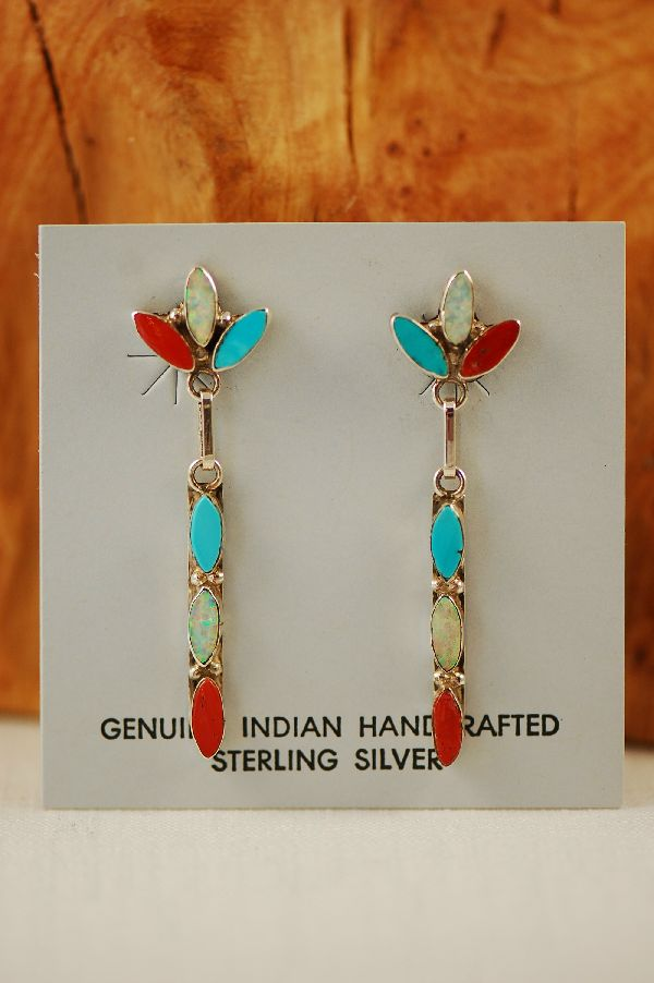 Zuni – Sterling Silver Turquoise, Coral and Lab Opal Inlaid Earrings