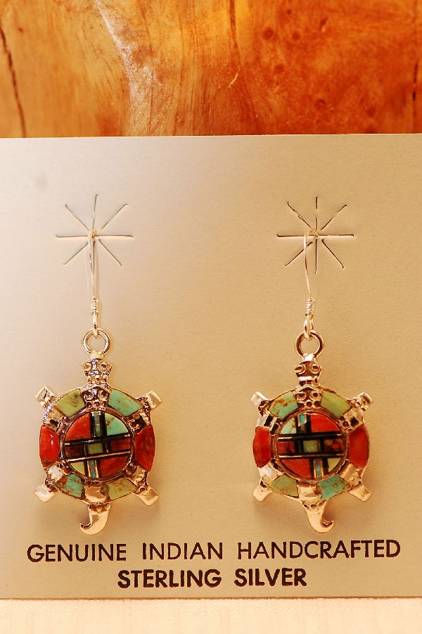 Navajo – Sterling Silver Multi-Stone Inlaid Turtle Earrings by Lucy Cayatineto