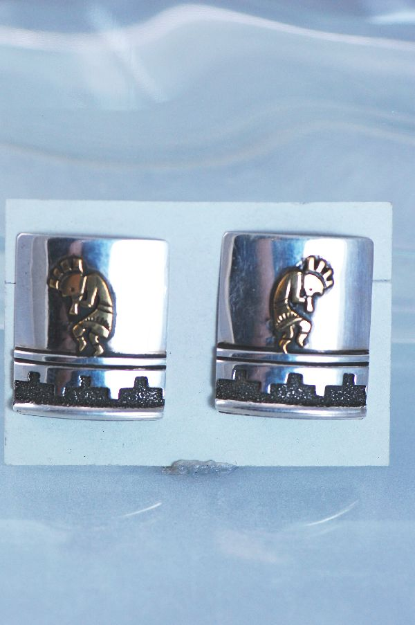 Navajo – 12ktGF and Sterling Silver Overlay Kokopelli Earrings by Tommy Singer