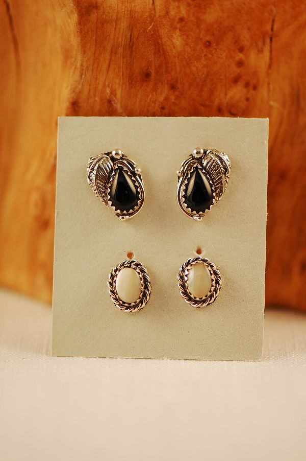 Navajo - Sterling Silver Black Onyx and Mother of Pearl Earrings