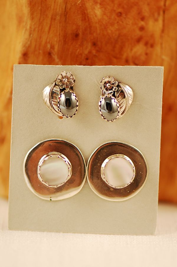Navajo - Sterling Silver Hematite and Mother of Pearl Earrings