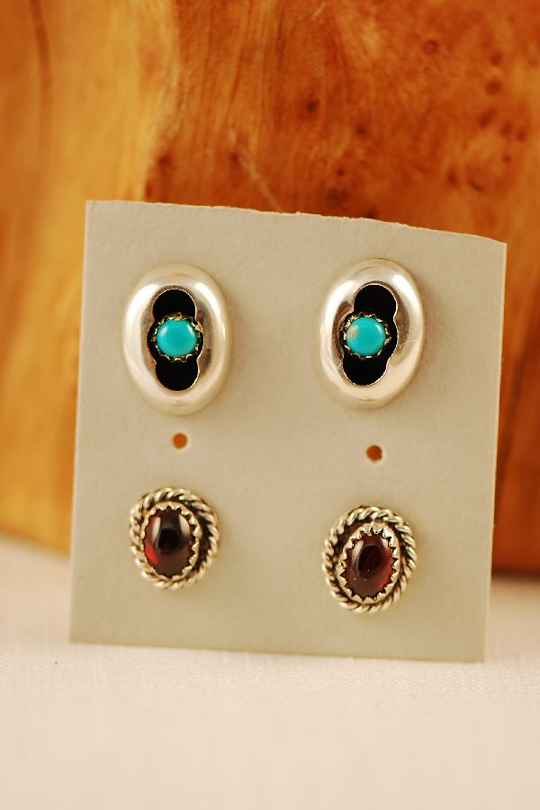 Navajo - Sterling Silver Turquoise and Amethyst Earrings