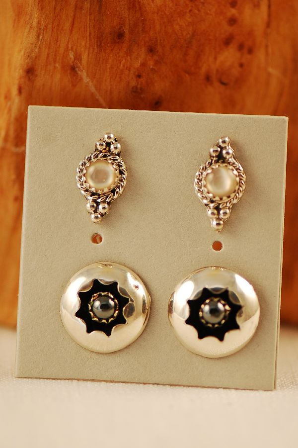 Navajo - Sterling Silver Mother of Pearl and Hematite Earrings