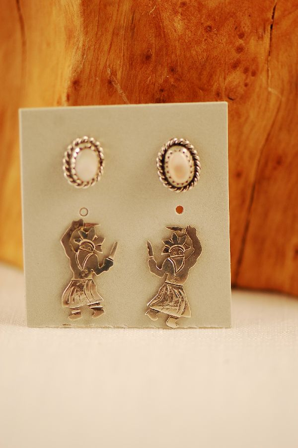 Navajo - Sterling Silver Mother of Pearl and Sterling Silver Apache Crown Dancer Kachina Earrings