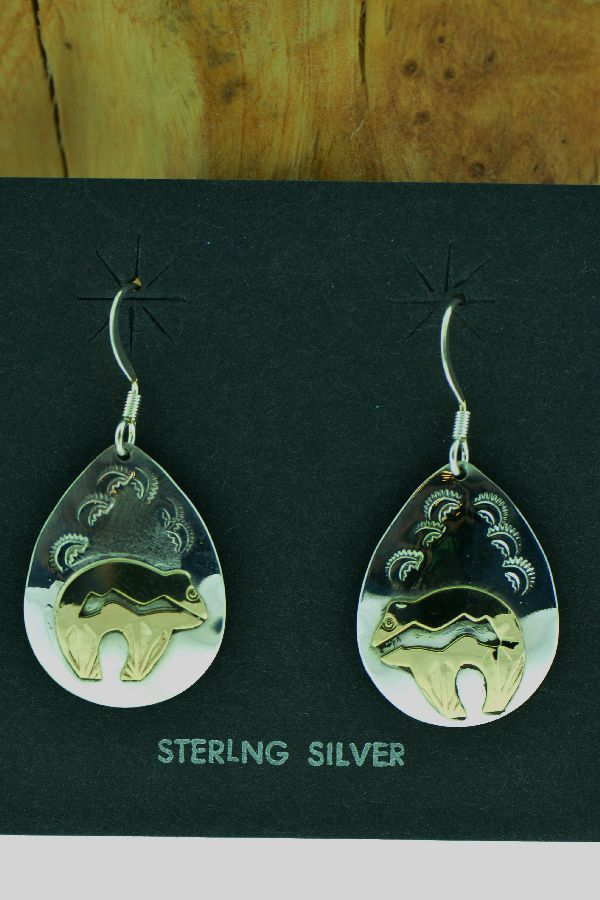 Navajo – Sterling Silver and 12ktGF Spirit Line Bear Earrings by Roger Jones