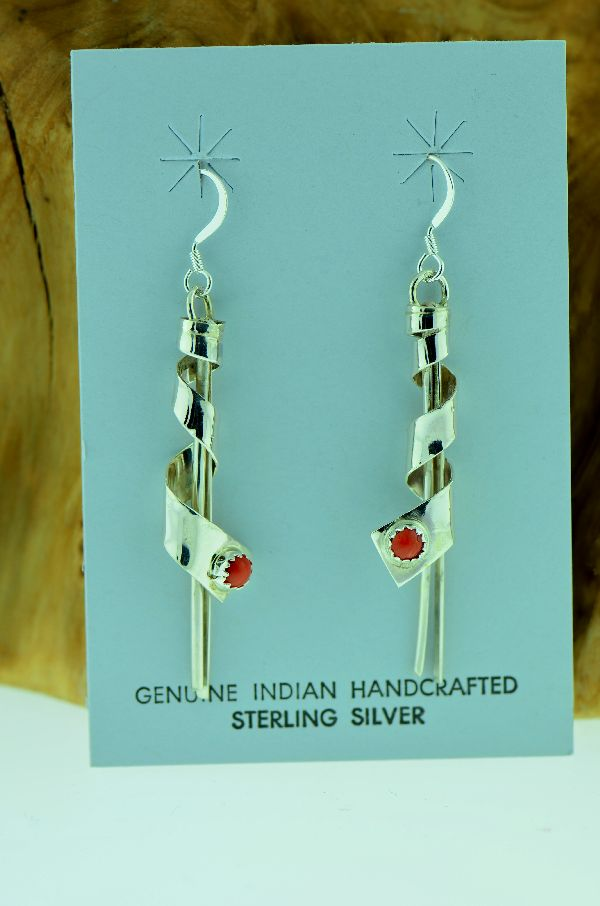 Navajo – Sterling Silver Coral Earrings by Louise Yazzie