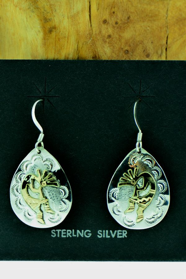 Navajo – Sterling Silver and 12ktGF Kokopelli Earrings by Roger Jones